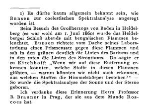 """Footnote from Max Wolf's article """"Der Einfluss kosmischer Probleme auf die Entwicklung der Spektralanalyse"""", Zeitschrift für Elektrochemie und angewandte physikalische Chemie 18, p. 457 (1912)."""